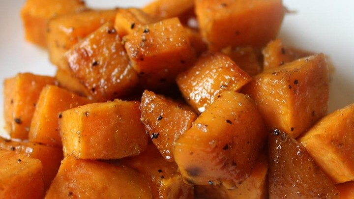 Maple Glazed Sweet Potatoes with Bacon and Caramelized Onions Recipe