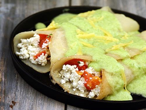 Baked Crêpes with Capsicum Sauce Recipe