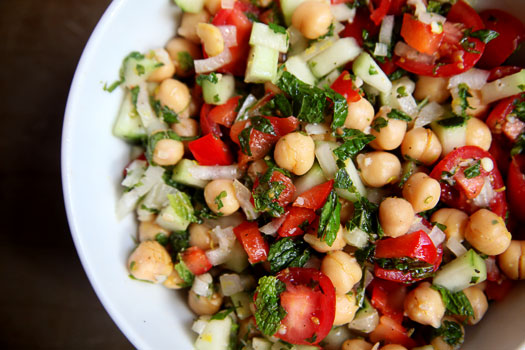 Chick Pea Salad with Mint Dressing Recipe