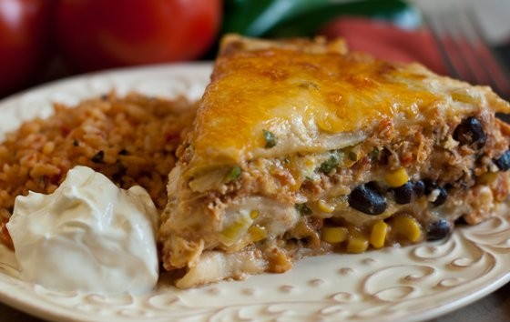 Mexican Lasagna with Pulled Chicken Recipe