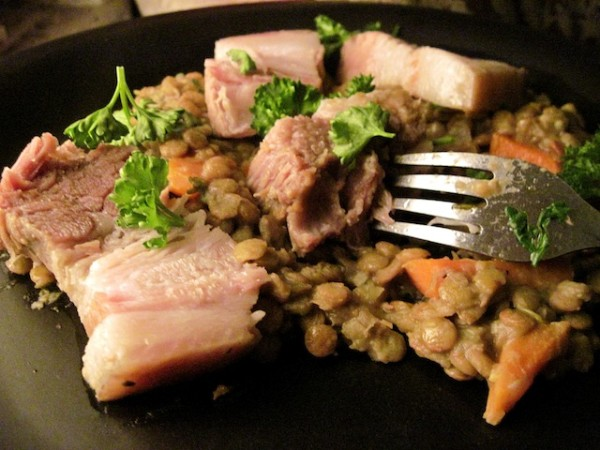 Boiled Pork Belly And Lentils Recipe