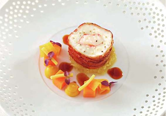 Bacon-Wrapped Monkfish With Lobster Recipe
