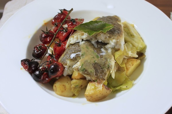 Brill Baked on Green White Vegetables Recipe