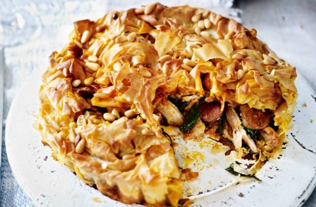 chicken-and-chorizo-filo-pie