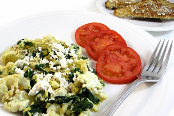 EGG WHITE SCRAMBLE WITH SPINACH AND ONIONS