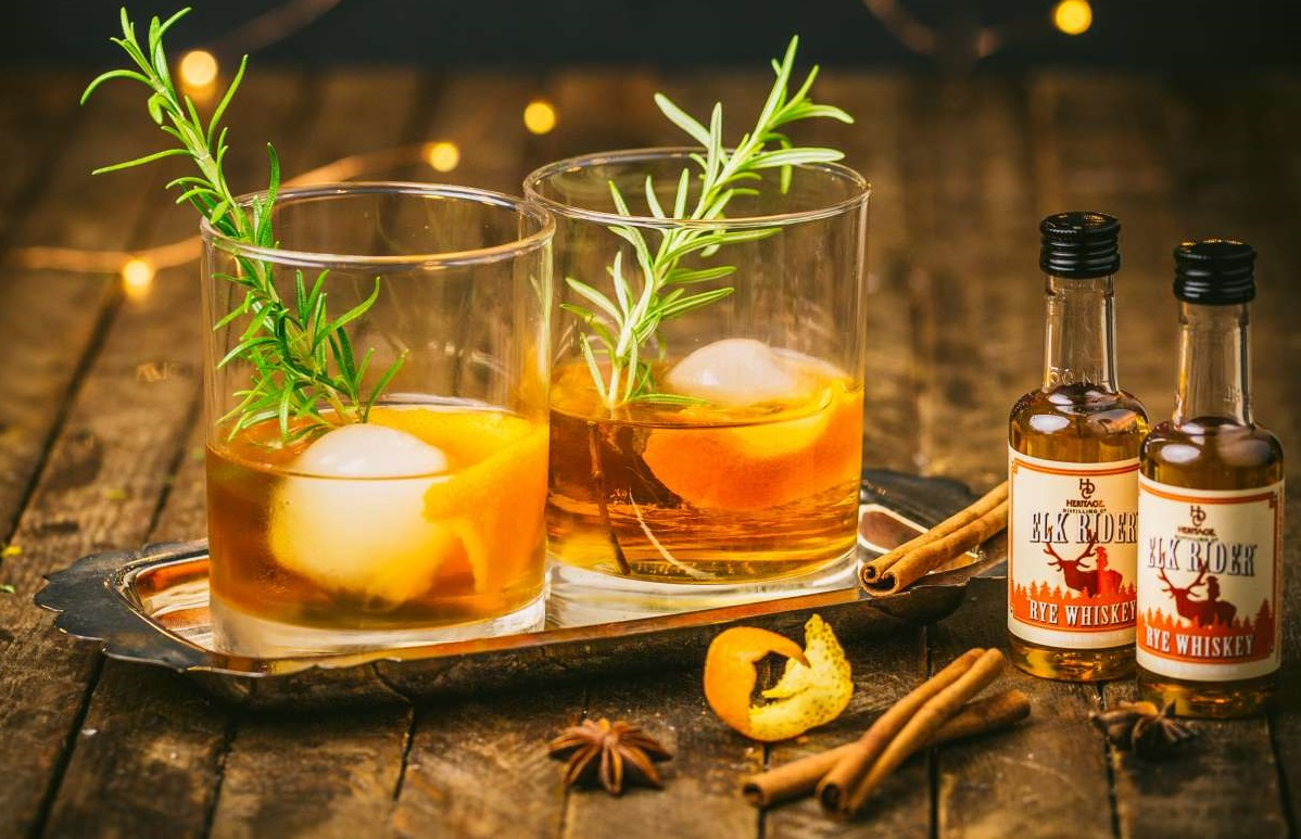 Cinnamon Rosemary Old Fashioned Cocktail