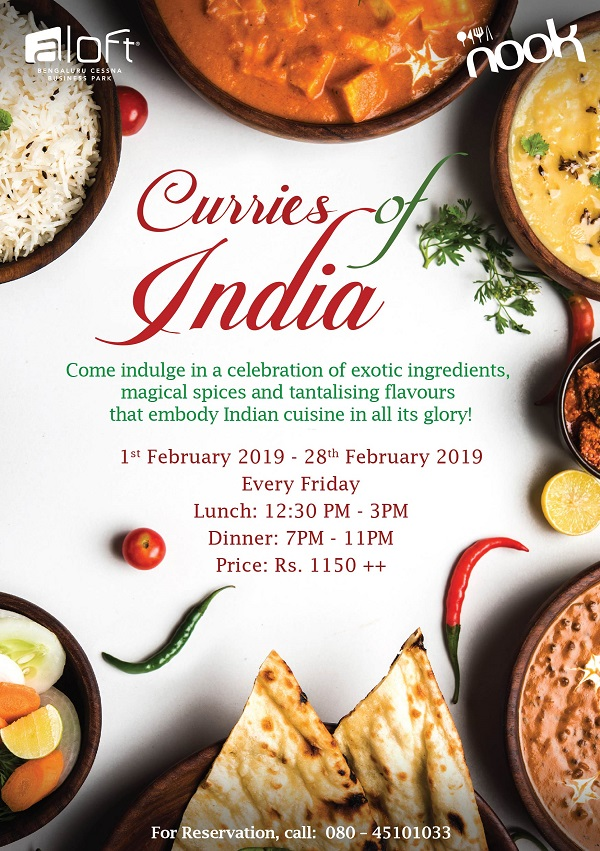 Enjoy 'Rich Indian Rasoi' - Curries of India Every Friday At Nook, Aloft Cessna Business Park
