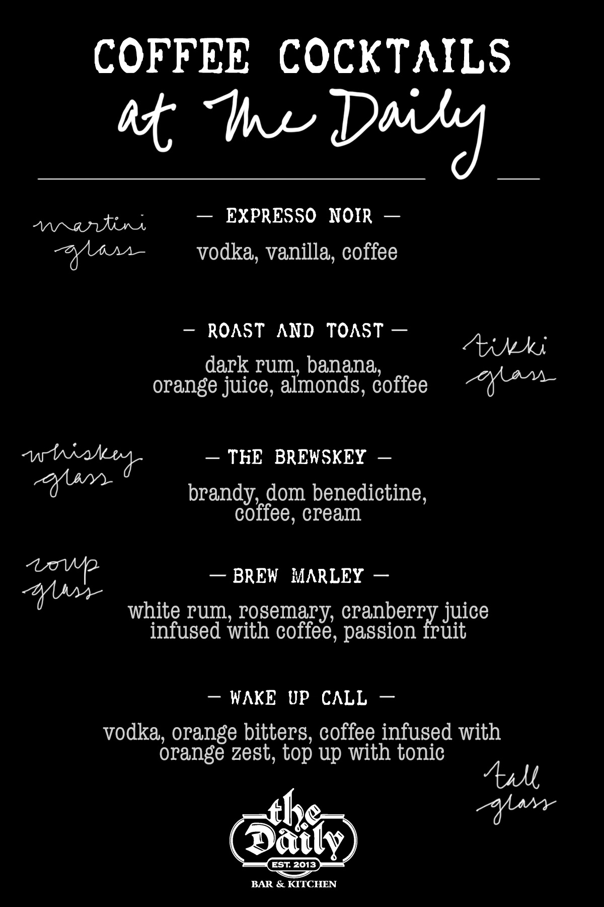 Coffee Cocktails At The Daily Bar & Kitchen