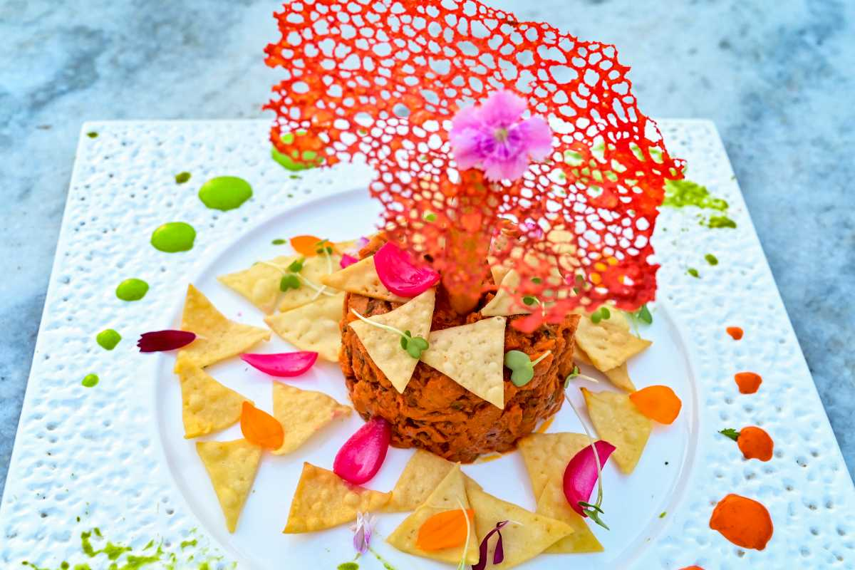 Made Out Of Masala Soya Strings & Served With Naan Chips, This Dish @ Decode Looks Delicious