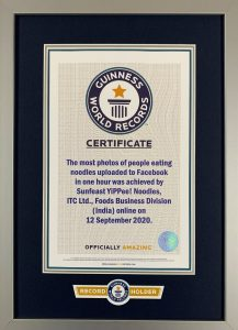 ITC Sunfeast YiPPee! Guinness World RecordCcertificate